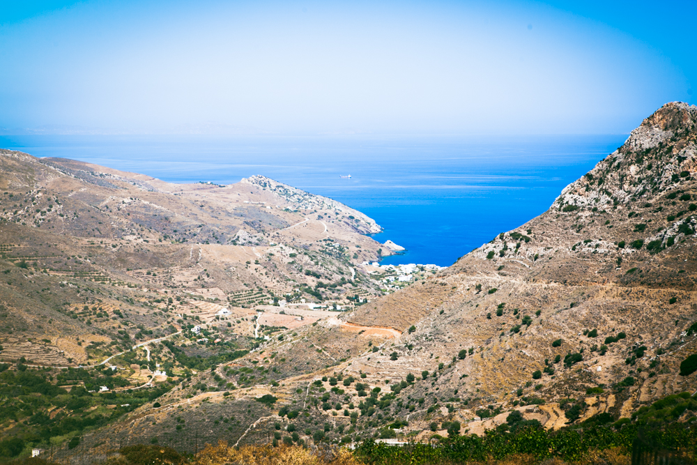 The view of the Apollonas beachfront from above the mountain.