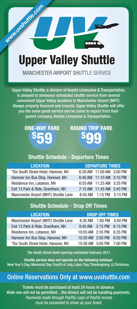 Upper Valley Shuttle Rack Card