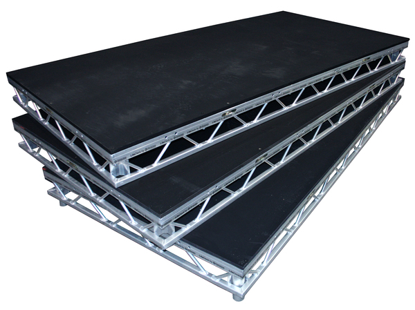 """Standard Steeldeck® platform constructed using steel truss frame with high quality 3⁄4"""" plywood tops. Tops are insulated from frames to reduce noise and vibration. Standard deck will accept 4 legs of 1 1/2"""" Schedule 40 steel pipe."""