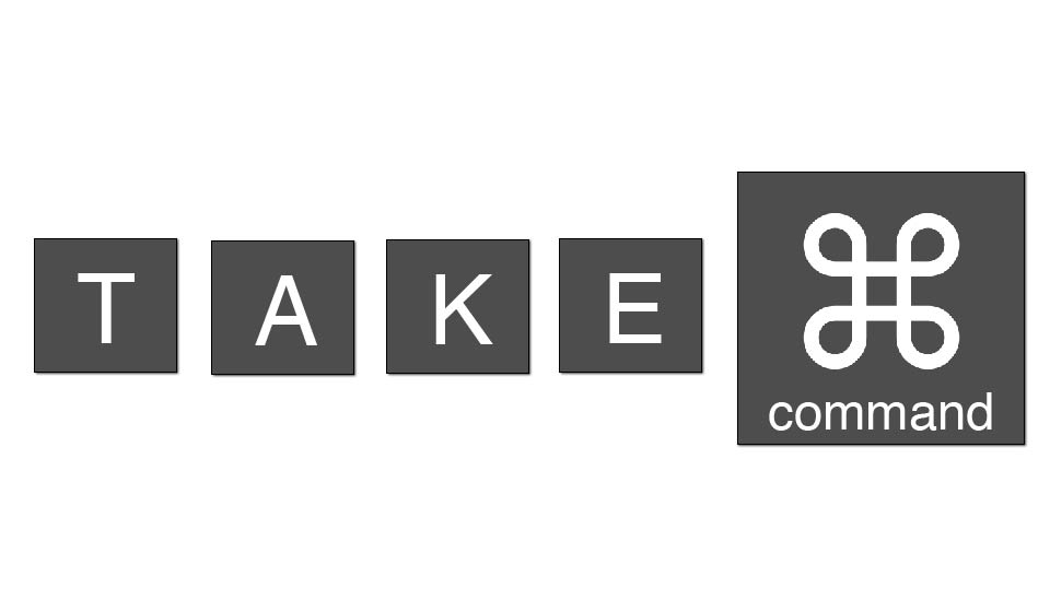 "Mac-style Keyboard keys that spell out ""Take command"" (with the command key symbol instead of keys that spell out the word)"