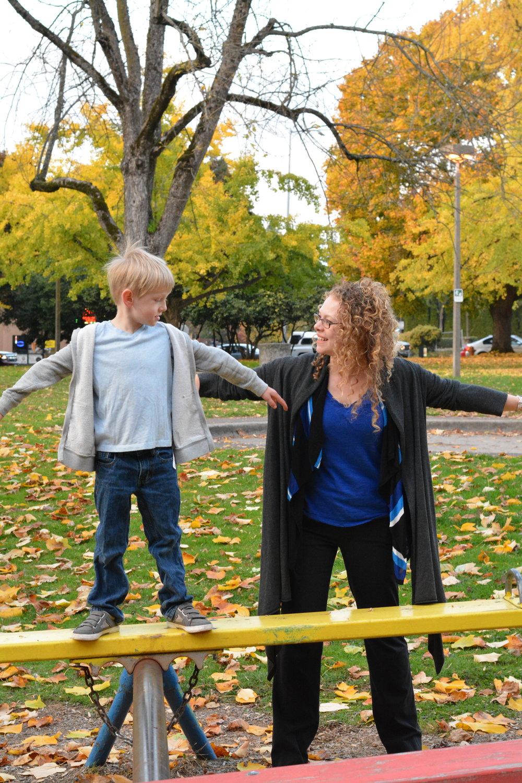Brittany Smith,ADHD Coach, helping a child balance