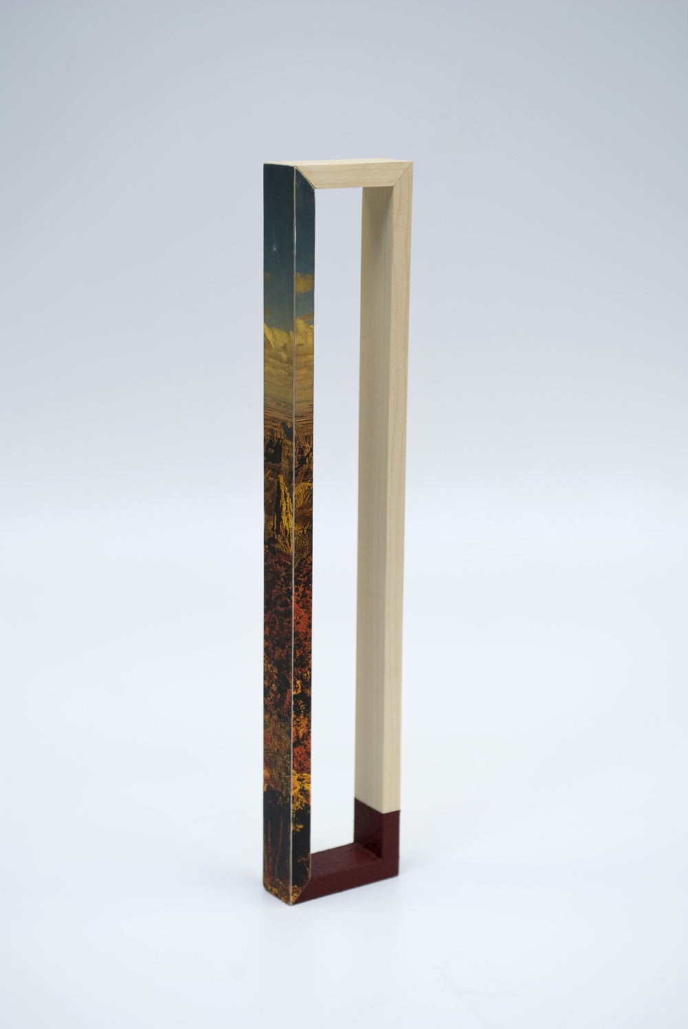 Maquette 8 , 2015  8 x 2 x .5 inches  Paint, wood, found image