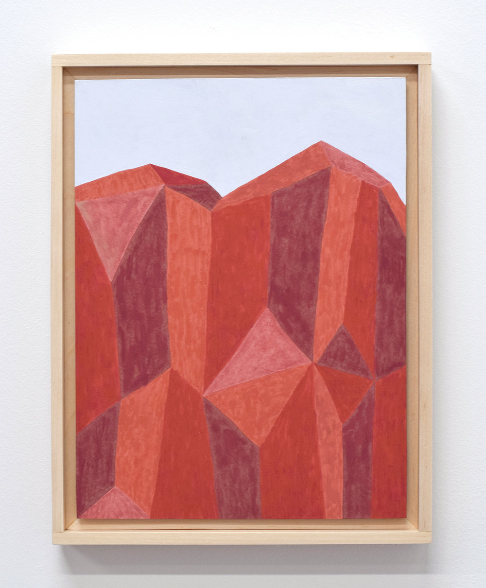 Red Cliff,  2017  13 x 10 inches  gouache on paper, aluminum, and maple frame