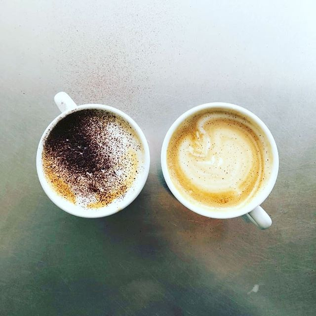 The only thing better than a coffee on a sunday morning is two coffees on a sunday morning. #latte #cappuccino