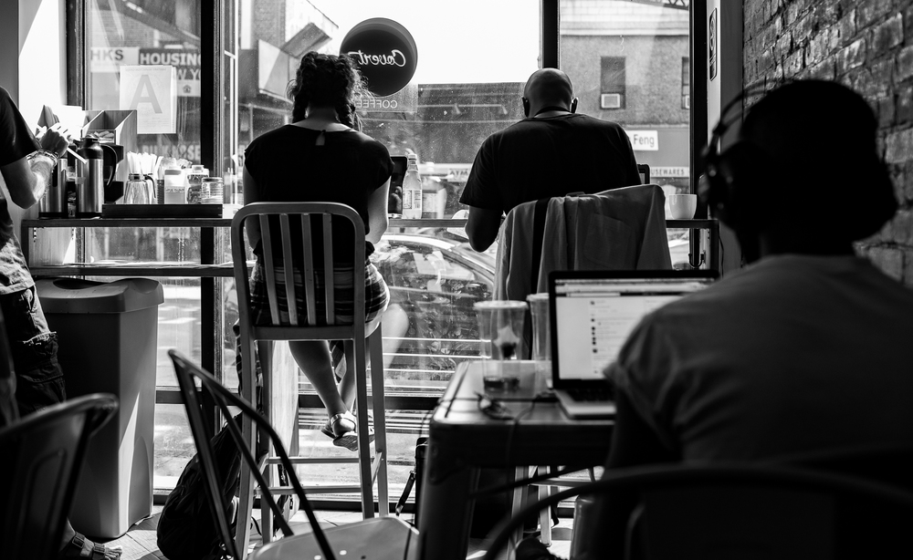 Covert Coffee customers enjoy tasty iced beverages, free wifi, and air conditioning in this relatively new Bushwick establishment.