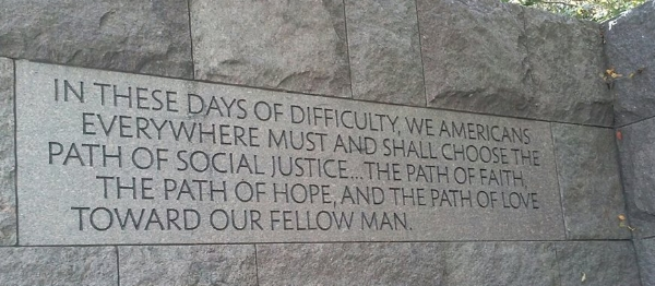 On the wall at the FDR Memorial, Washington, DC