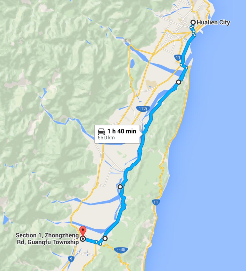Hualien to Guangfu via 193