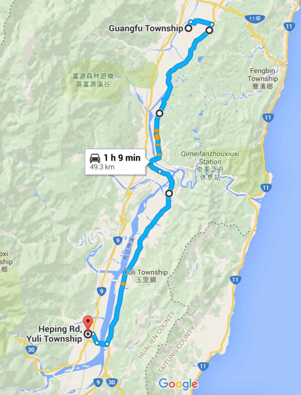 2. Guangfu to Yuli Google Maps.png
