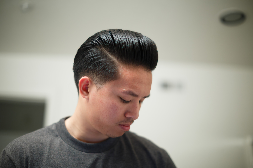 Flagship X Borneoil Straight of Malacca Pomade Review by The Pomp | Water-Based Heavy Hold Hair Example