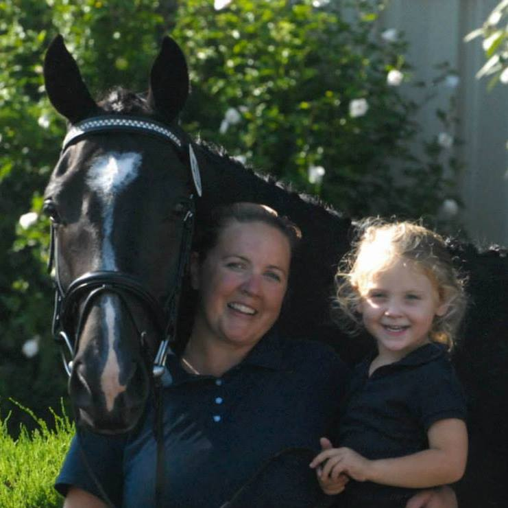 Alli and her daughter Briley with her warmblood gelding, Saintiago.