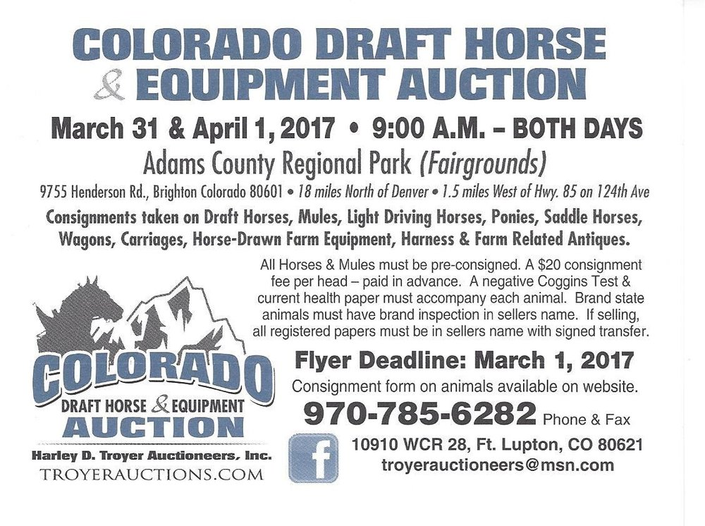 CO Draft Horse and Equipment Auction