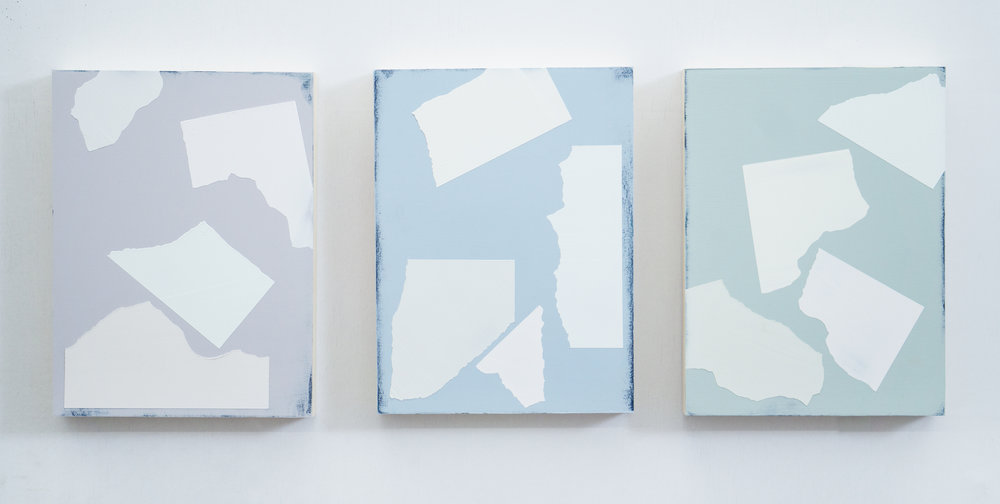 """A Piece of 7"""" by 7"""" Paper Torn Apart  Series 12"""" x 9"""" each Oil and Acrylic on wood panel 2019"""