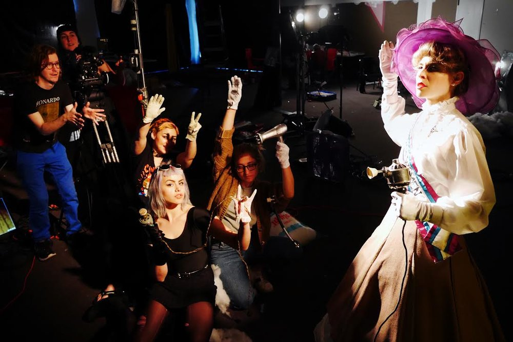 On set for Dorian Electra's 'History of the Vibrator' Refinery29 Video