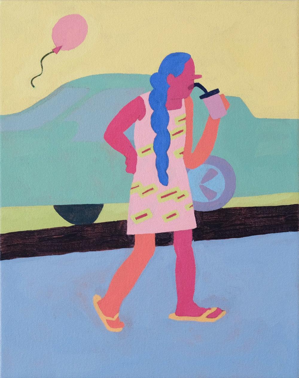 """City Girl , 11"""" x 14"""", acrylic on canvas"""