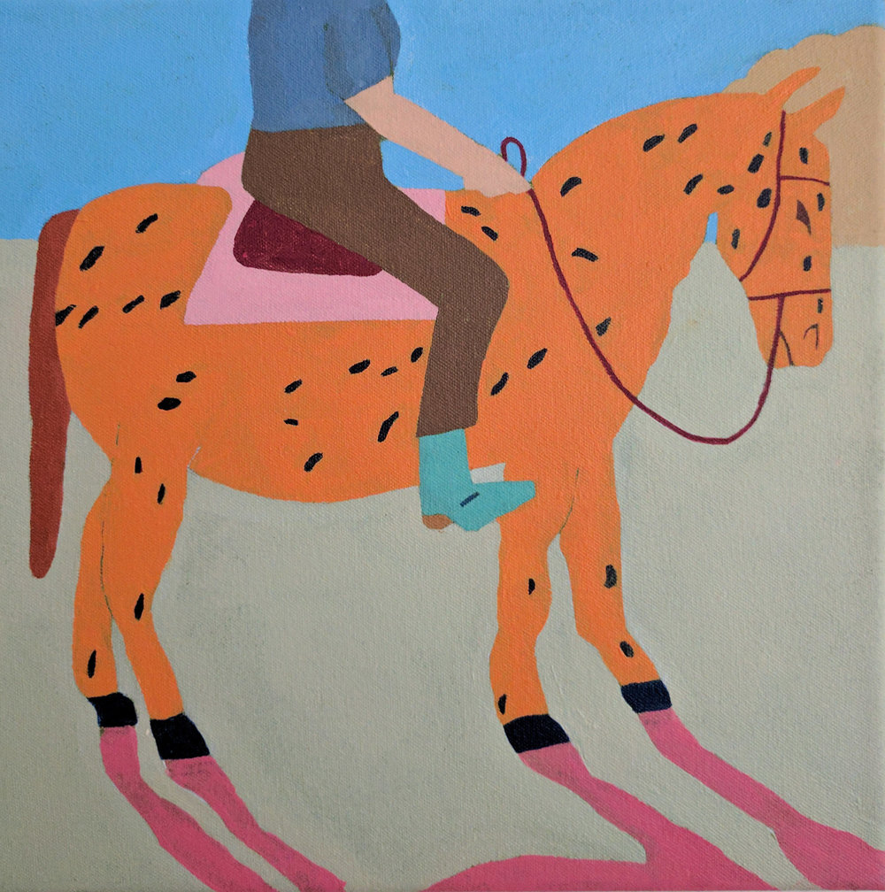 "Rider With Turquoise Boots On Horse (Cheeto Horse) , acrylic on canvas, 11"" x 11"""