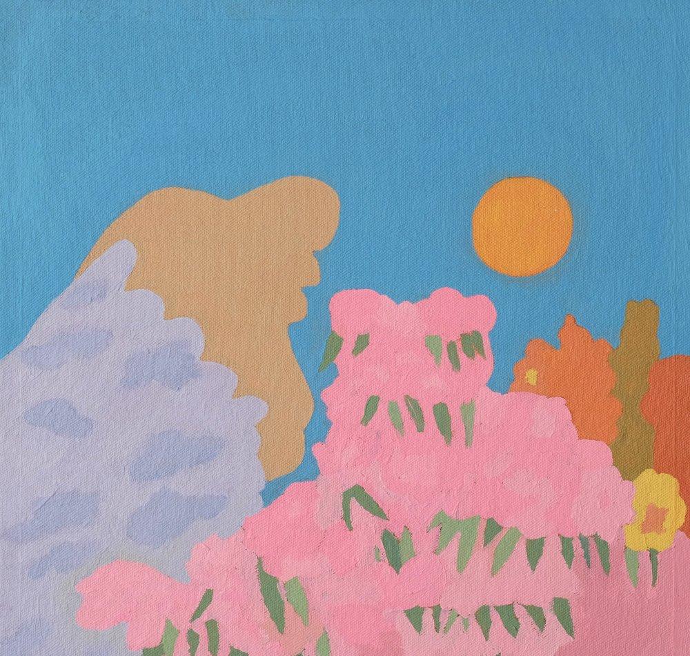 "Garden In The Spring, 11"" x 11"", acrylic on canvas"