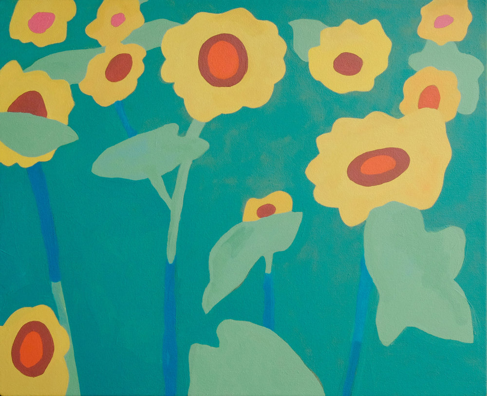 "Sunflowers,  21"" x 17"", acrylic on canvas"