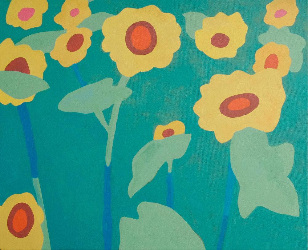 """Sunflowers,  21"""" x 17"""", acrylic on canvas"""