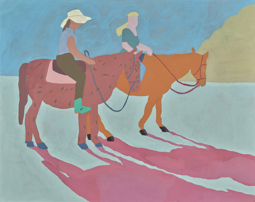 """Two Riders, 48 1/4"""" x 38 1/2"""",acrylic on canvas"""