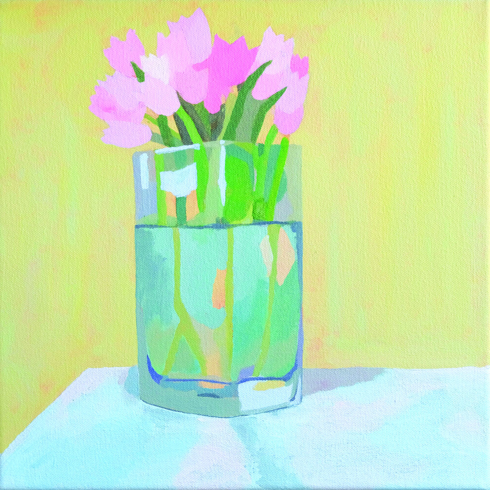 "Pink Tulips In Vase (丰富) , 11"" x 11"", acrylic on canvas"