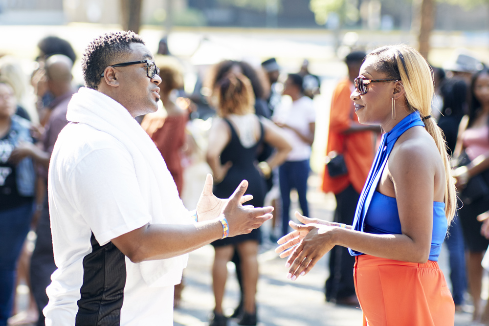 Pastor Jones and Pastor Johnson chat in a scene from Preachers of Atlanta. (Oxygen Media)