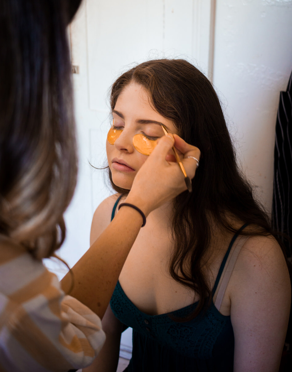 Carah Cotterman , our amazing makeup artist, works her magic on Hannah.