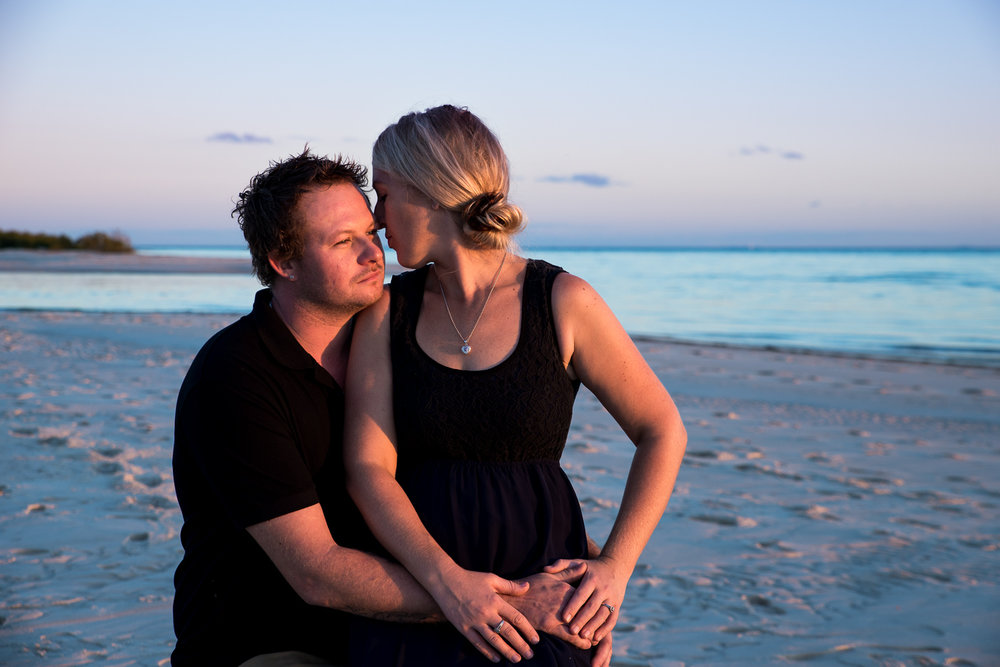 Engagement portrait session at Buckleys Hole Bribie Island.  Sunset at the Beach  Stuart C Photography  Caboolture Outdoor Portrait Photographer