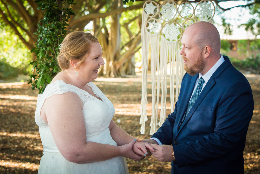 Wedding ceremony in Wirreanda Park in Buderim