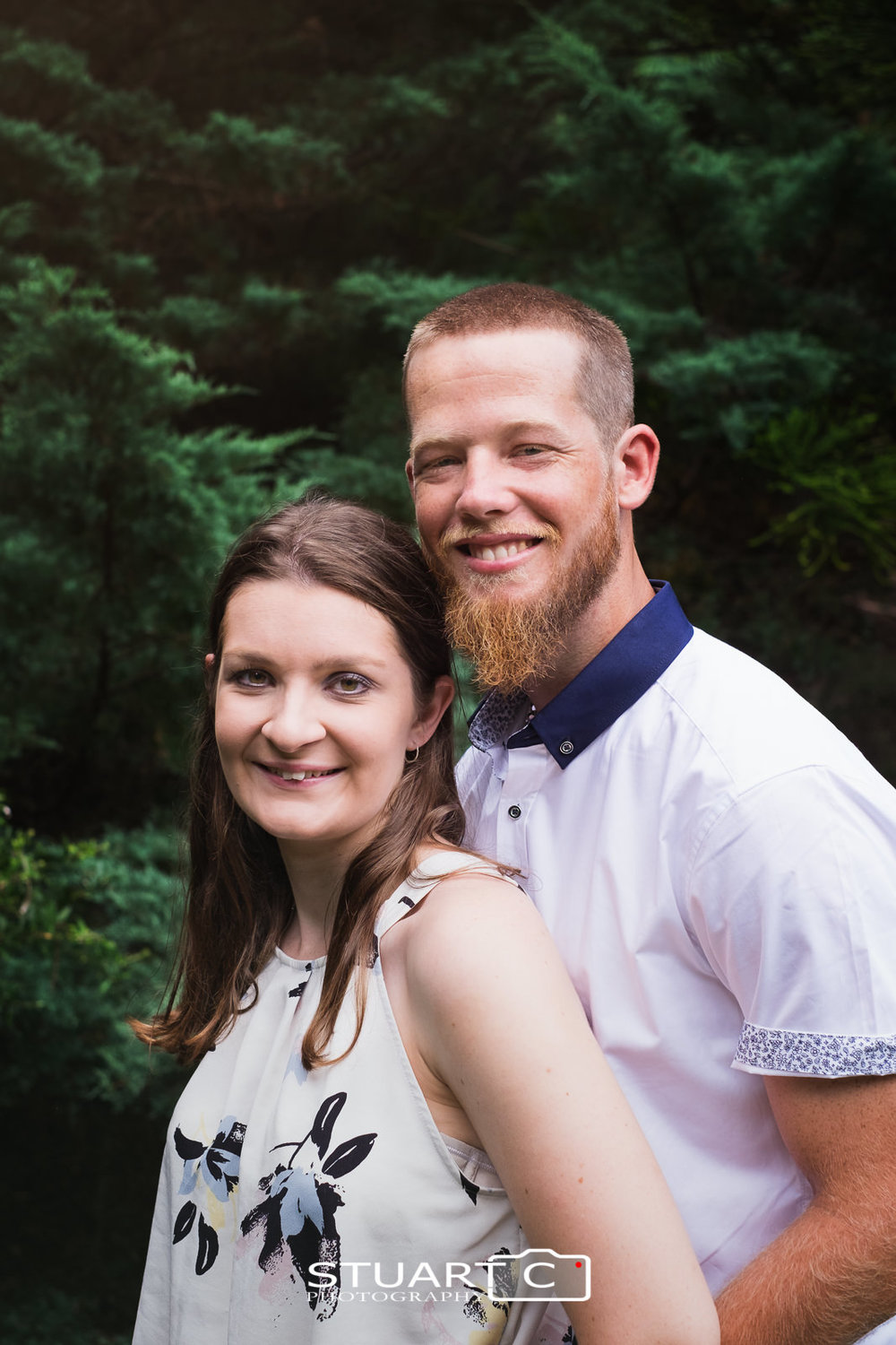 Close up portrait of newly engaged couple, Casey and Gary, enjoying the Botanical Garden at Mt Cootha