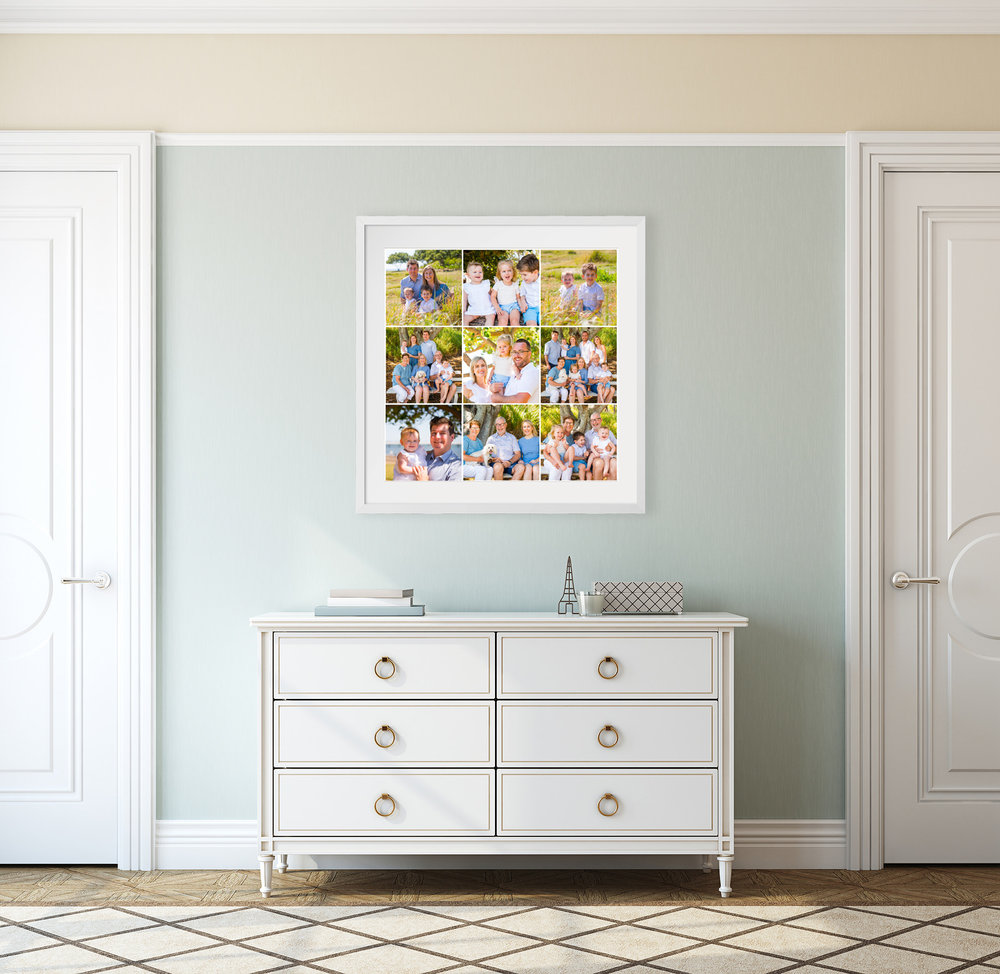 Framed family photos 30 inch grid of nine shown above bedroom dresser, by caboolture outdoor family photographer