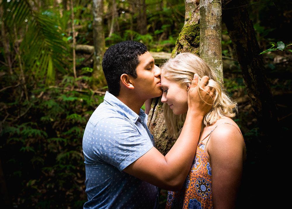 Enagement shoot in sunshine coast hinterland rainforest