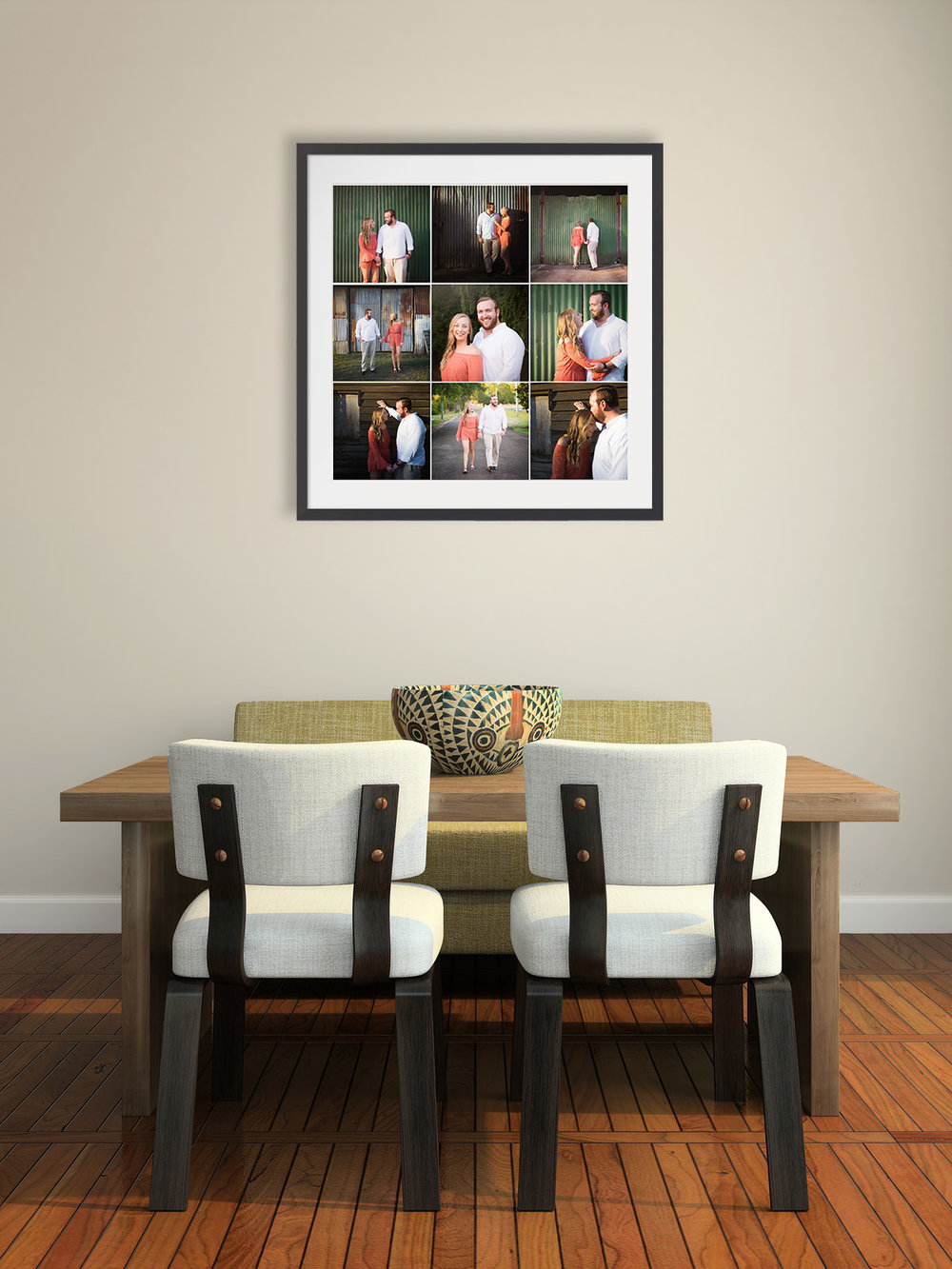 Grid of 9 engagement photos in square frame hanging above dining table