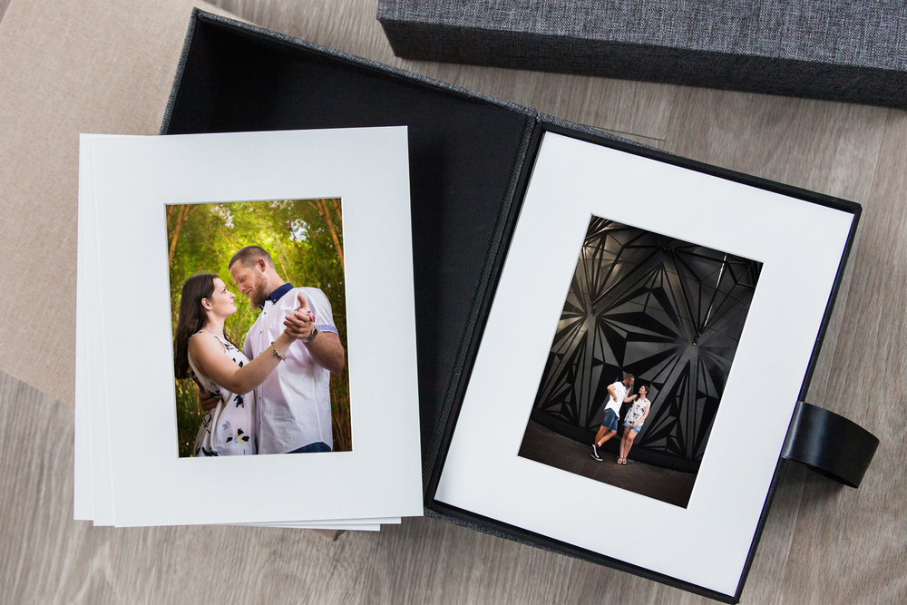 Box set of matted prints with engagement photos