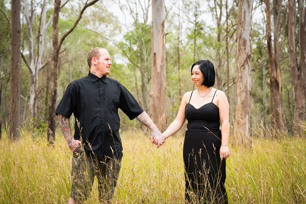 Outdoor engagement portrait sessions in rural and bush locations around Caboolture