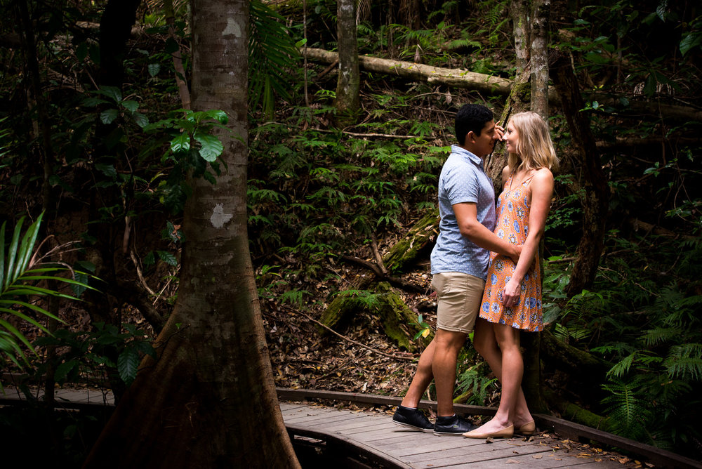 Outdoor engagement portrait photography sessions in rainforest locations caboolture and surrounds