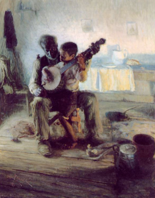 "Henry Ossawa Tanner's ""The Banjo Lesson,"" was displayed inside the Negro Building"