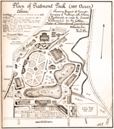 Cotton States and International Exposition Plan- The Negro Building is in the Lower Right Corner between Buffalo Bill's Wild West Show and Midway Heights