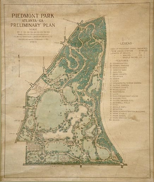 landscape architects, the Olmsted Brothers developed a plan for Piedmont Park - 1912