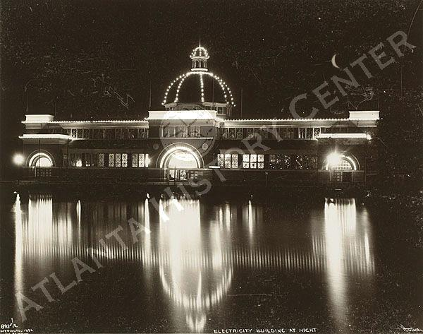 View of the Electricity Building as seen at night during the Cotton States  Exposition in Piedmont Park , Atlanta, Georgia.
