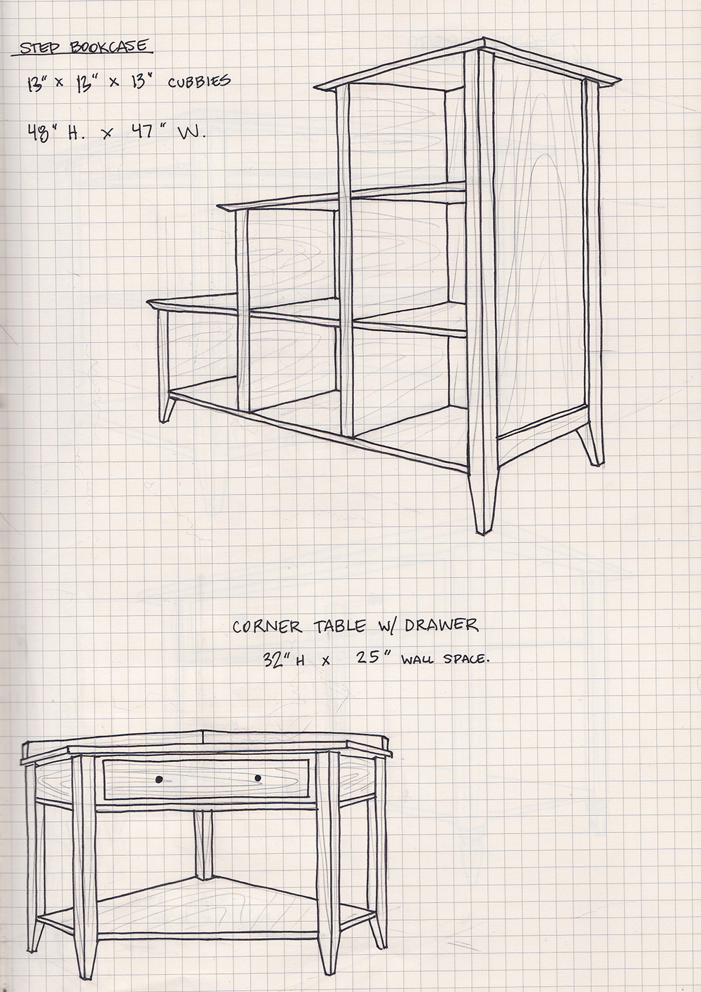 Bookcase & Corner Table