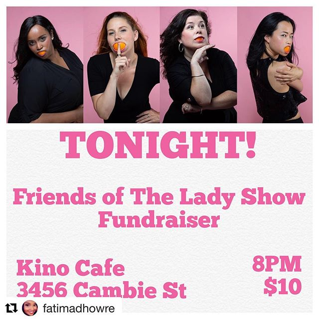 """Tonight is the night!! Great show for a great cause so don't miss out! . . $10 for a door ticket OR $20 for an """"I just couldn't make it...Oh, who are we kidding, I never had any intention of coming I still want to support you guys"""" ticket, which can be sent via etransfer to morgan@morganbrayton.com . . . #theladyshow #vancouver #comedy #standup #sketch #dailyhivevan #vancity #vancouverisawesome #vancouverevent  #yvrcomedy"""