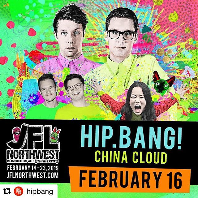 """Gonna be a part of this for JFL Northwest! ☺️ A brand new Hip.Bang! Sketch show with guests Soda Fountain and @dianabangarama - Presale password is """"JFLNW19"""" for cheap tickets on the JFL Northwest website. Buy now, laugh later!"""