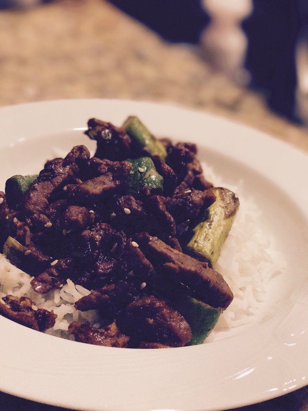 Ginger beef with asparagus over Basmati rice