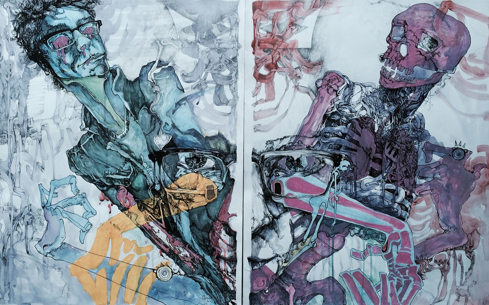 "Diptych self-portrait using ink, pencil, and acrylic paint on two bristol boards (24""x36"" each, 48""x36"" as a complete piece). Made for a drawing II assignment about ""inside vs. outside."""