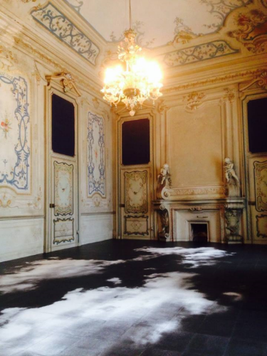 One of the exhibition rooms at the Castello di Rivara