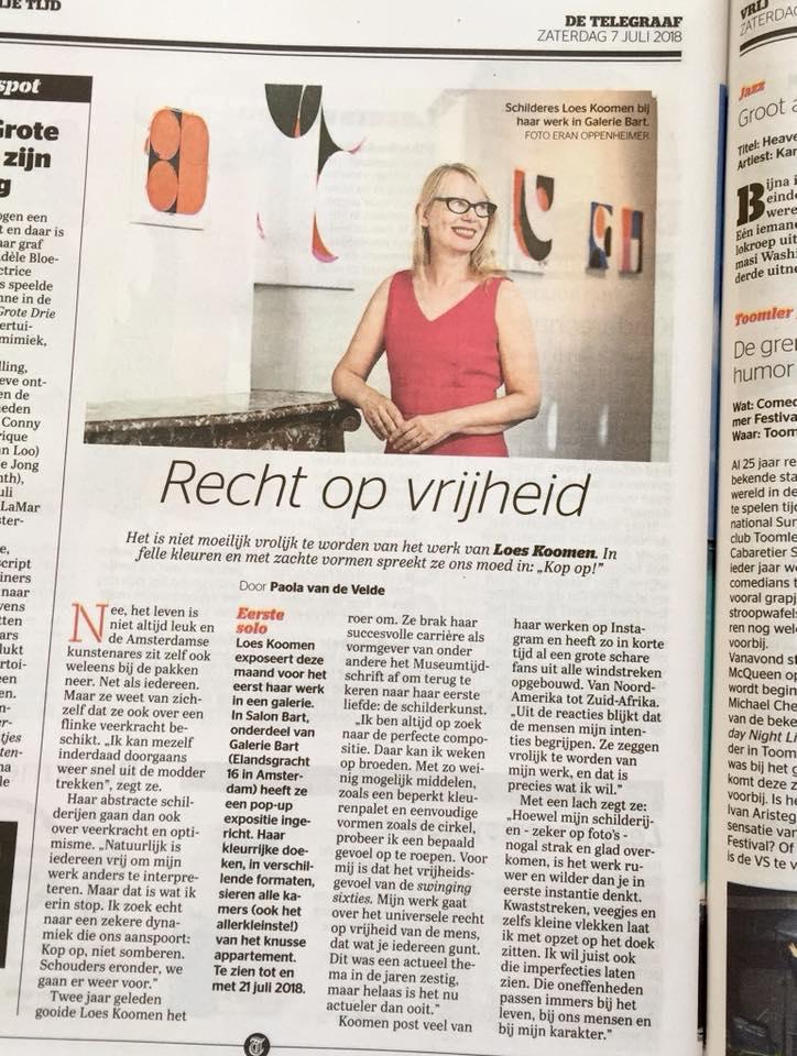 Recensie soloexpo 'Room to Move' bij Galerie Bart, Amsterdam, door Paola van de Velde, De Telegraaf 7,juli 2018