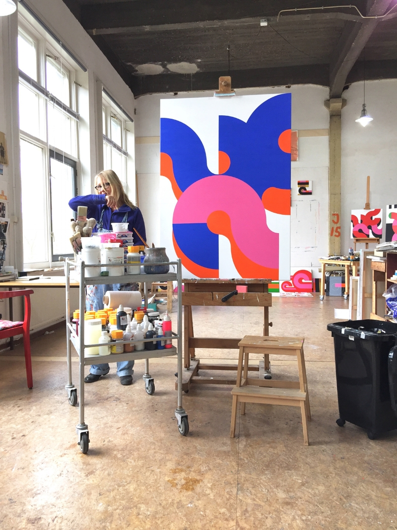 Loes Koomen in her studio