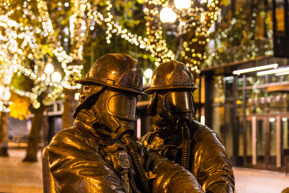 Revisiting the Fallen Firefighters Memorial at night.