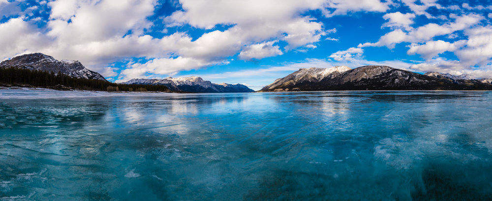 Lake Abraham is famous for it's ice bubbles.  As this is an artificial lake, there is a sunken forest at the bottom of the lake.  The decaying vegetation releases methane bubbles that get trapped and frozen in the winter ice.  However the warm weather meant the lake had slightly thawed and the bubbles were no longer visible.