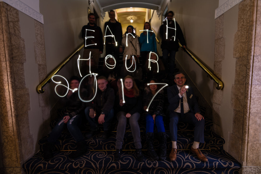 "Taking this photo was one of the funniest things I have ever done.  With my camera setup on a tripod for a long exposure I had to direct everyone to write out each letter of ""Earth Hour 2017"" using electric candles.  I would tell everyone to get ready and they would hold there candle in the ready position, I told them to go and they would all start waving their candle in the air.  I felt like I was some sort of wizard professor teaching junior wizards how to cast spells."